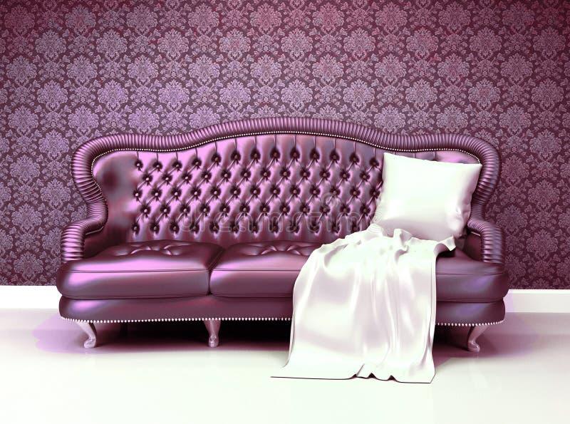 Luksusowa rzemienna kanapa ilustracja wektor