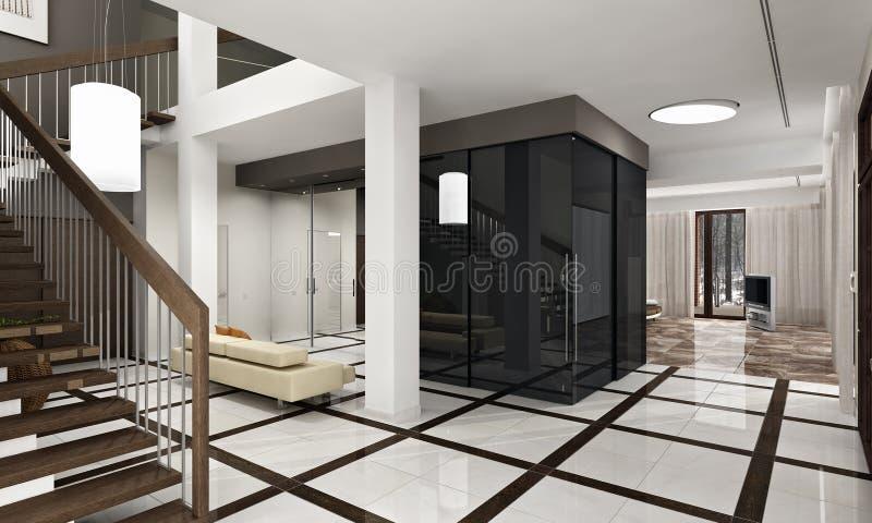 Luksusowa sala z schody w nowym domu royalty ilustracja
