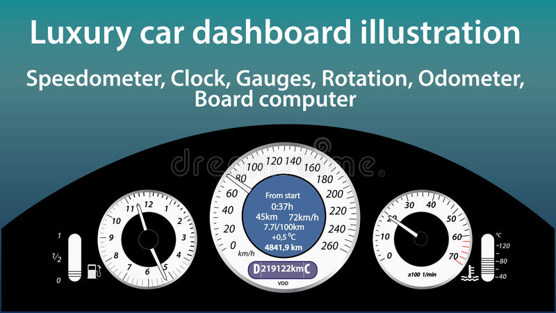 Luksusowa samochodowa deski rozdzielczej ilustracja - wymierniki, szybkościomierz, zegar, temperatura, gaz równy, drogomierzy wsk ilustracja wektor