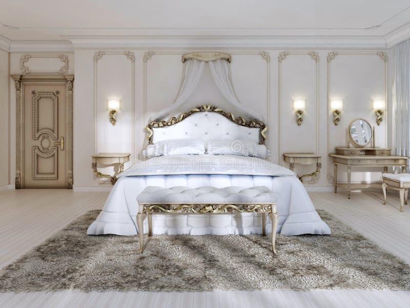 Luksusowa sypialnia w białych kolorach w klasyka stylu ilustracja wektor