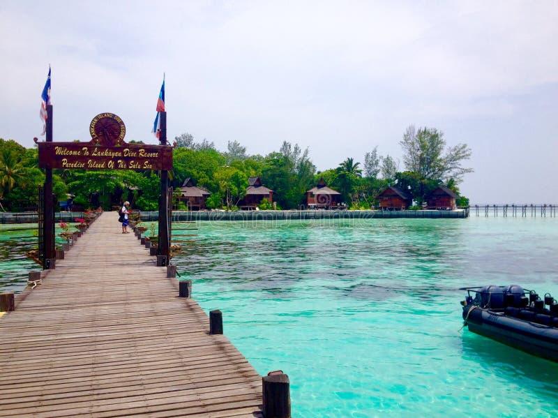 Luksusowa wyspy ucieczka Lankayan wyspy nura kurort w Sulu morzu Malezja obraz stock