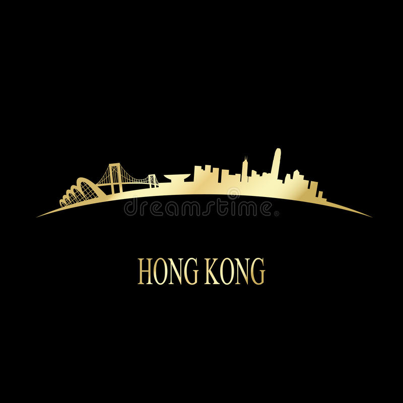 Luksusowa złota Hong Kong linia horyzontu ilustracji