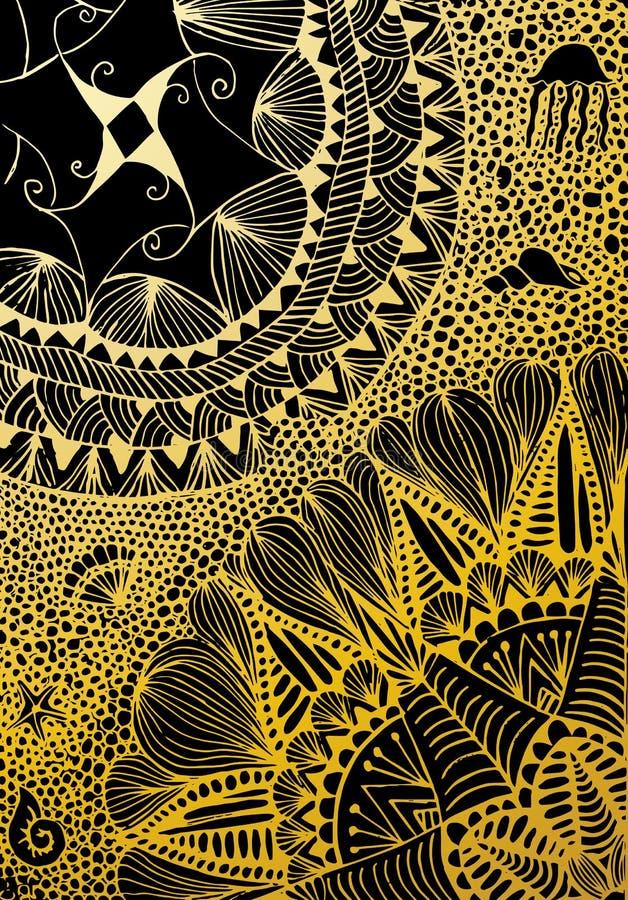 Luksusowa złota tapeta Rocznika Kwiecisty deseniowy Wektorowy tło ilustracji