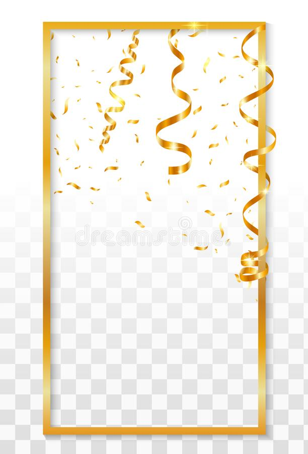Luksusowa złoto ramy ikona, realistyczny styl ilustracja wektor
