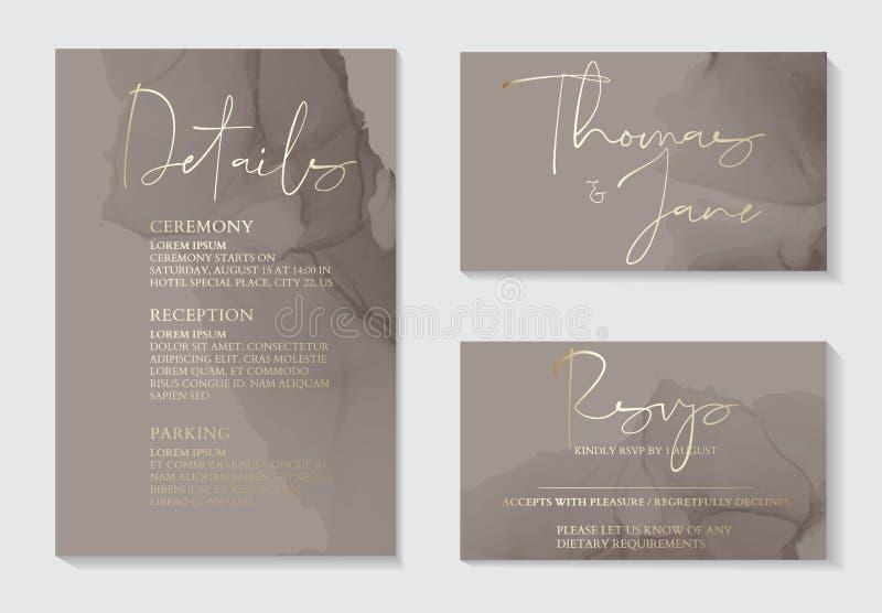 Luksusowe, miękkie, ciemnoszare zaproszenia na ślub z teksturą marmurową w złotym kształcie i wzorcem geometrycznym o minima royalty ilustracja