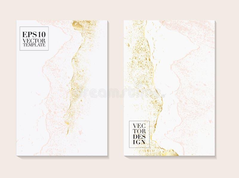 Luksusowe wizytówki z marmurową teksturą i złoto, menchii czuła dekoracja odizolowywająca na białym tle, rocznika stylu projekt d royalty ilustracja