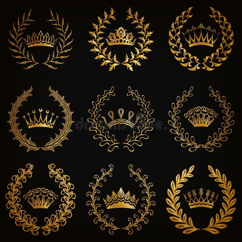 Luksusowe złoto etykietki z laurowym wiankiem ilustracja wektor