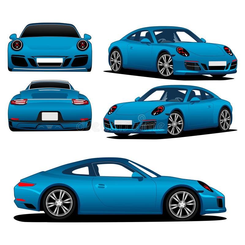 Luksusowego błękitnego colour nowożytny samochodowy ilustracyjny wektor royalty ilustracja