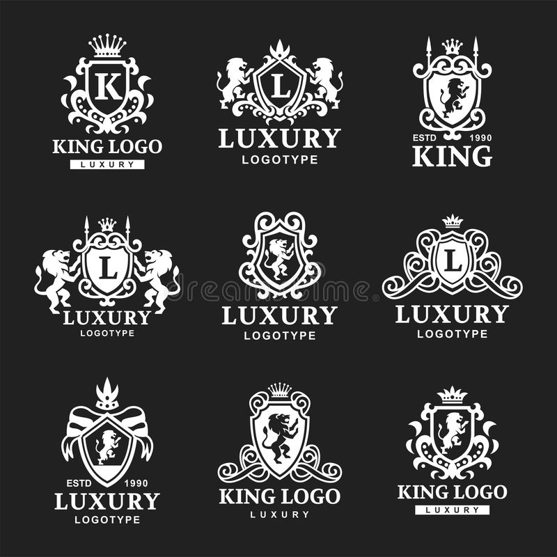 Luksusowego butika grzebienia rocznika produktu heraldyki Królewskiego wysokiej jakości loga gatunku tożsamości wektoru inkasowa  obraz stock