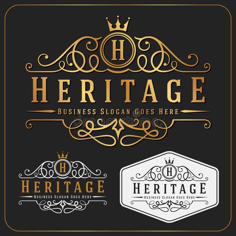 Luksusowego Królewskiego loga projekta Wektorowy Pokaźny szablon