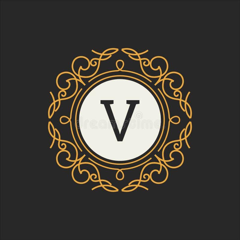 Luksusowego loga wektorowy szablon dla restauraci, królewskość, butik, kawiarnia, hotel, Heraldyczny, biżuteria, moda Listowy kwi ilustracja wektor