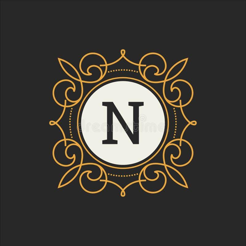 Luksusowego loga wektorowy szablon dla restauraci, królewskość, butik, kawiarnia, hotel, Heraldyczny, biżuteria, moda Listowy kwi ilustracji