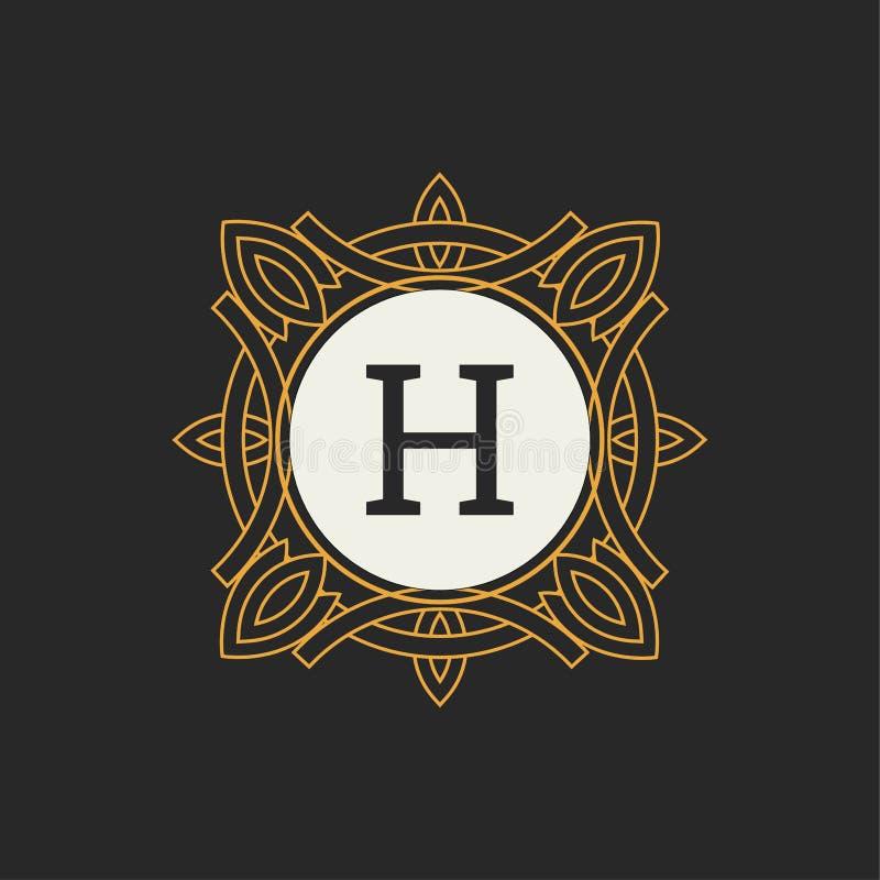 Luksusowego loga wektorowy szablon dla restauraci, kr?lewsko??, butik, kawiarnia, hotel, Heraldyczny, bi?uteria, moda Listowy h K royalty ilustracja