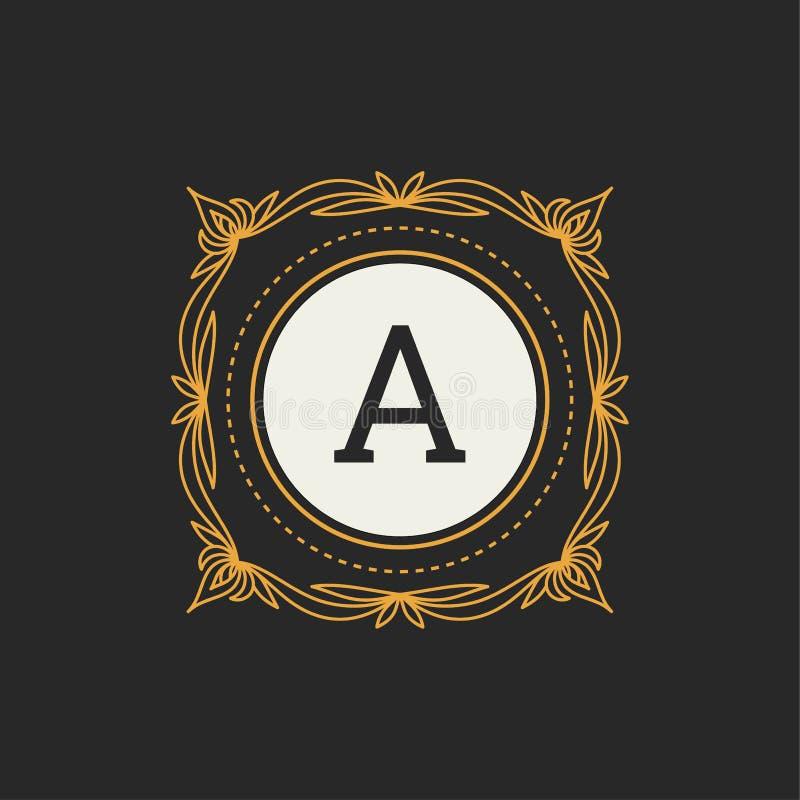 Luksusowego loga wektorowy szablon dla restauraci, kr?lewsko??, butik, kawiarnia, hotel, Heraldyczny, bi?uteria, moda Pisze list  royalty ilustracja