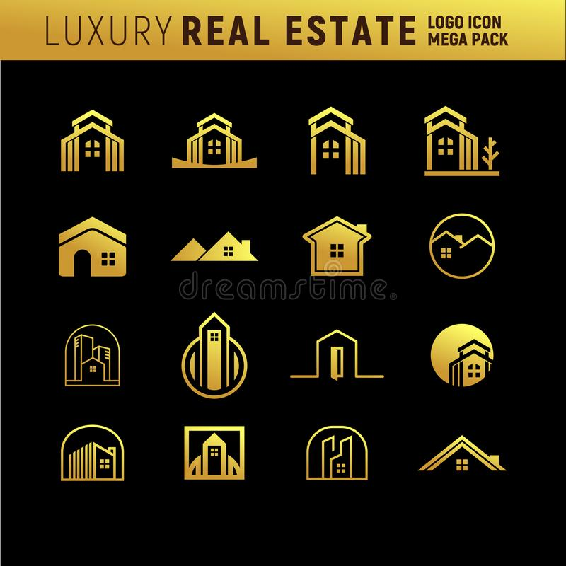 Luksusowego Real Estate loga Mega paczka ilustracja wektor