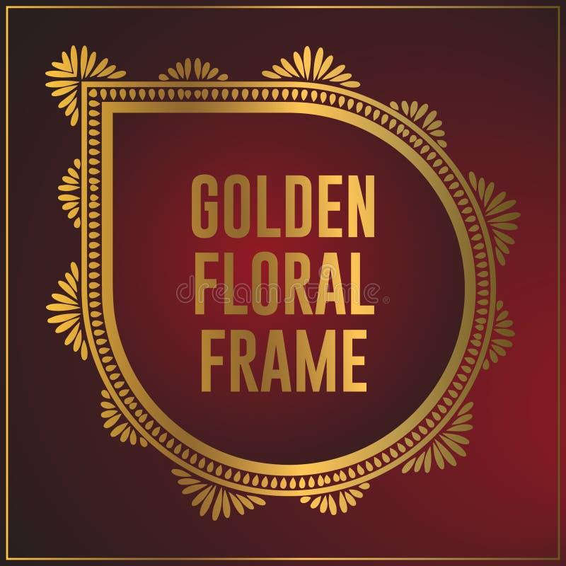 Luksusowego rocznika kwiecistego ornamentu ramy złoty projekt Z?ota t?a ramowy projekt z luksusowym kwiecistym ornamentem ilustracji