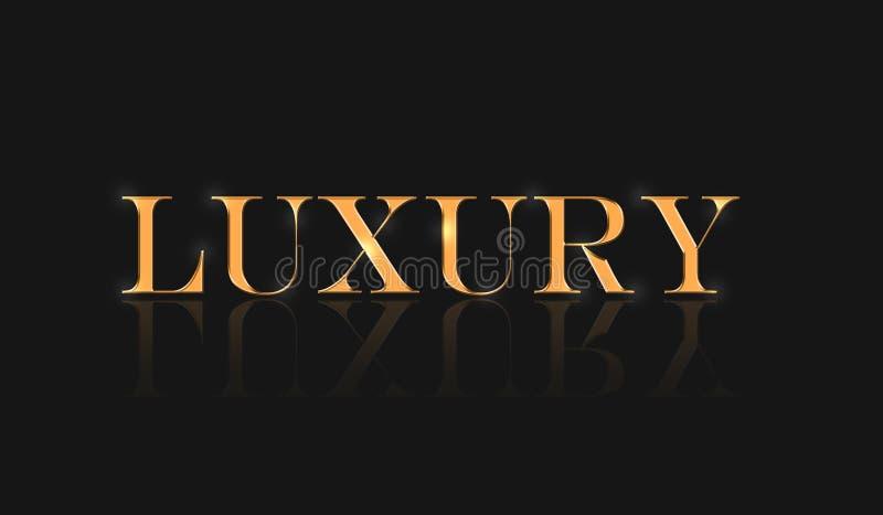 Luksusowego słowo teksta skutka czerni złocisty tło ilustracja wektor