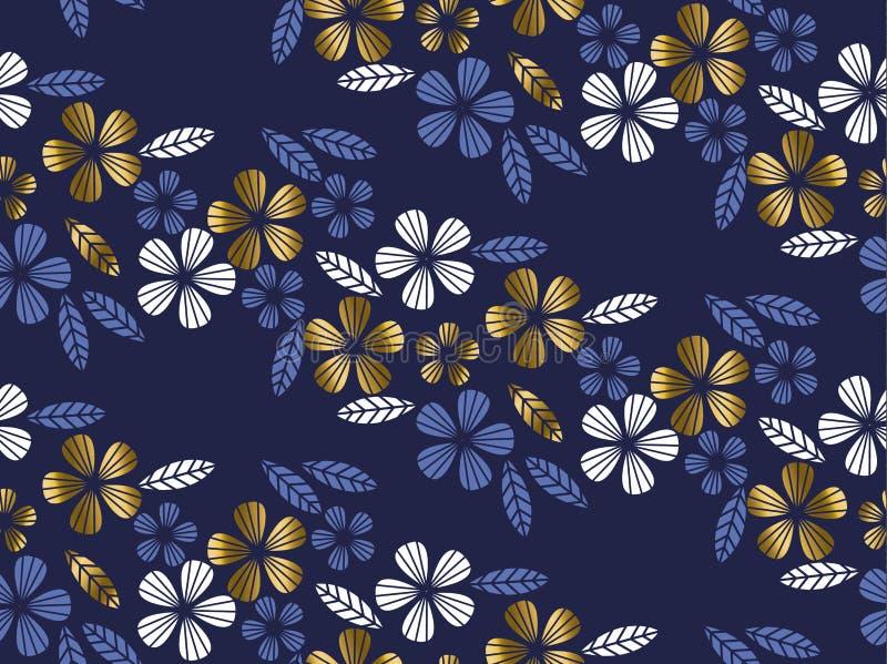 Luksusowego złoto stylu tropikalny urlop i kwiatu element royalty ilustracja