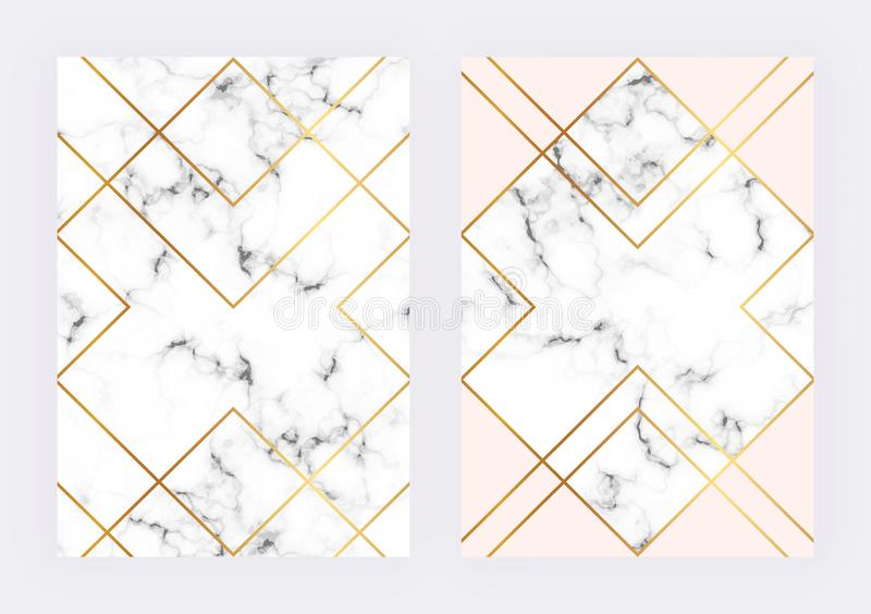 Luksusowi ślubni szablony z marmurowym geometrycznym projektem z poligonalnymi złotymi liniami Nowożytny backgrond dla zaproszeni ilustracji