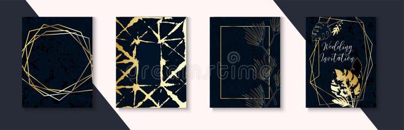 Luksusowi Ciemni Ślubni zaproszenia Ustawiający Indygowy zmrok - błękita Ramowy układ Marmurowych Textured Tropikalnych liści Wek ilustracja wektor