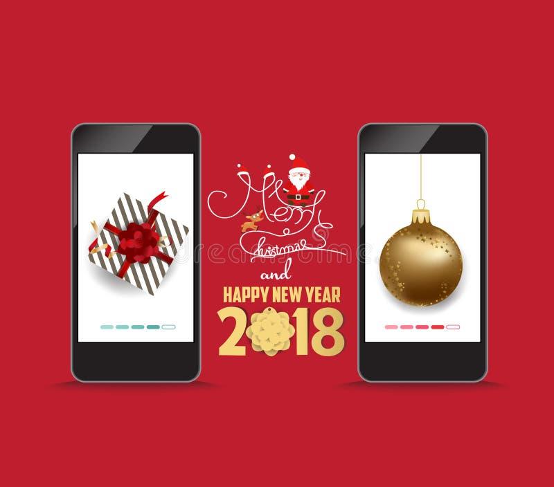 Luksusowi Eleganccy Wesoło boże narodzenia i szczęśliwy nowego roku 2018 plakat Złocista piłka i prezent na smartphone ilustracji