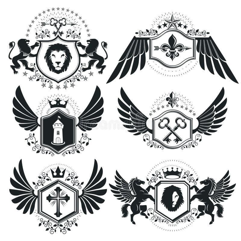 Luksusowi heraldyczni wektoru emblemata szablony Wektorowi blazons classy royalty ilustracja