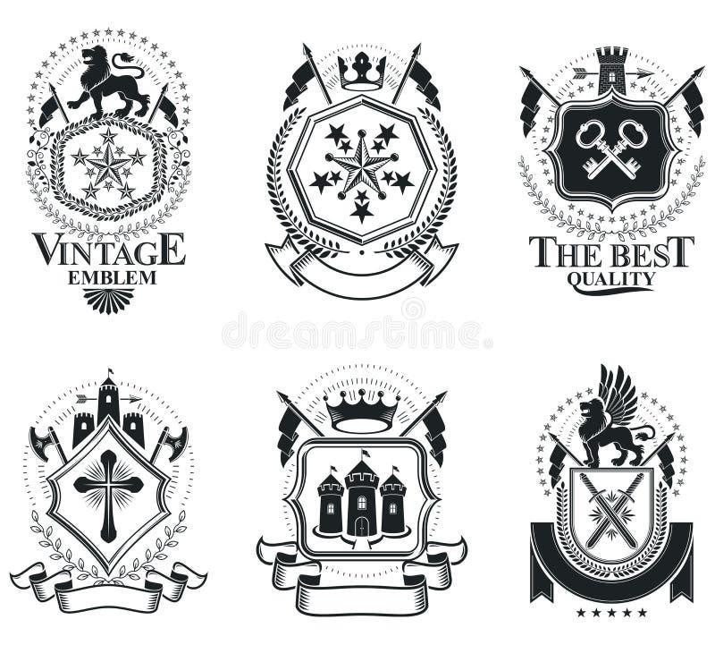 Luksusowi heraldyczni wektoru emblemata szablony Wektorowi blazons classy ilustracji