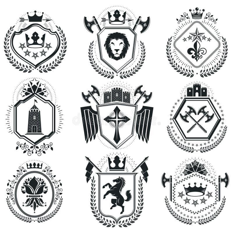 Luksusowi heraldyczni wektoru emblemata szablony Wektorowi blazons classy ilustracja wektor