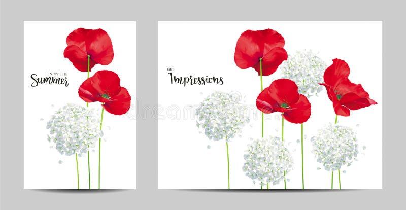 Luksusowi jaskrawi czerwoni wektorowi maczka i hortensi kwiaty - painti ilustracja wektor