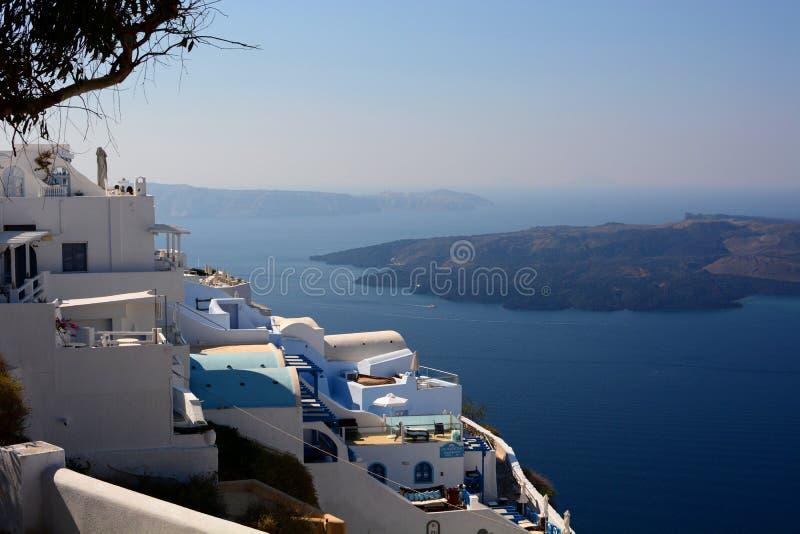 Luksusowi mieszkania Firostefani Santorini, Cyclades wyspy Grecja zdjęcie stock