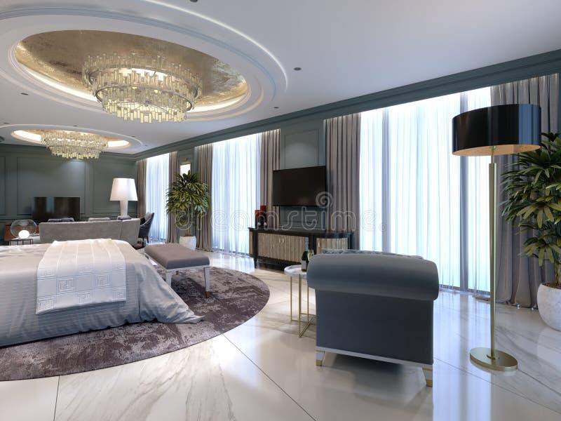 Luksusowi mieszkania z sypialnią i żywy teren w współczesnym stylu z klasycznymi elementami, błękit ścianami i lekkim meble, royalty ilustracja