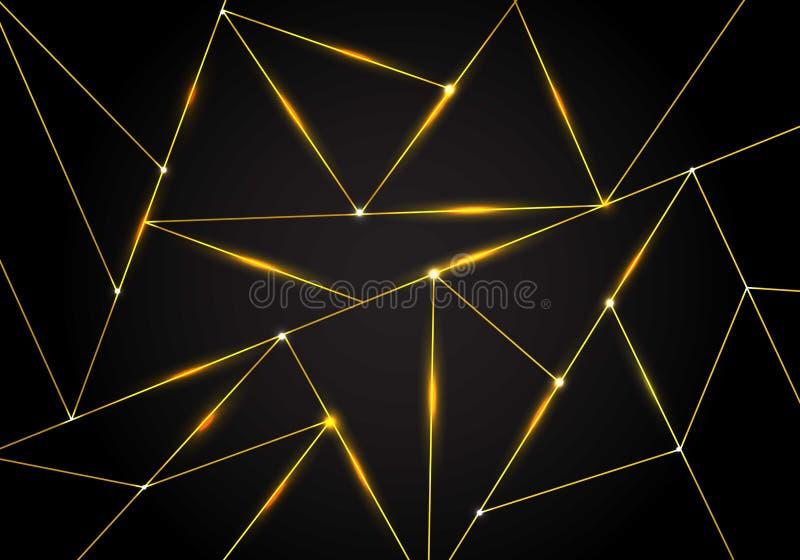 Luksusowi poligonalni deseniowi i złociści trójboki wykładają z oświetleniem na ciemnym tle Geometryczni niscy wieloboka gradient ilustracja wektor
