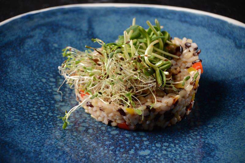Luksusowi restauracyjni korzenni basmati Iran ryż z warzywami i mikro zielenieją zdjęcia stock