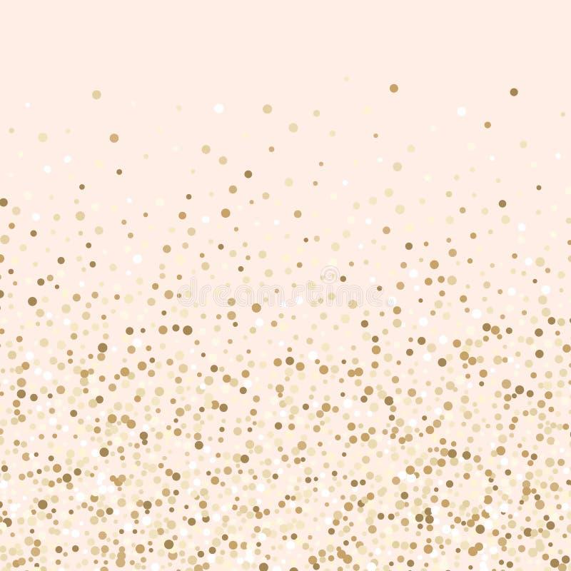 Luksusowi złoci confetti, złocisty błyskotliwy tło, rumienów confetti, różowi i złociści ilustracji