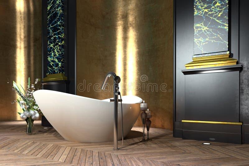 Luksusowy łazienki wnętrze w klasyka stylu ilustracja wektor