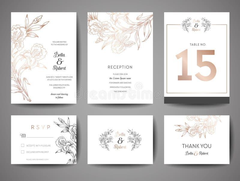 Luksusowy ślubu Save data, zaproszenie Grępluje kolekcję z Złocistej folii kwiatami i monograma loga projekta szablonem ilustracja wektor