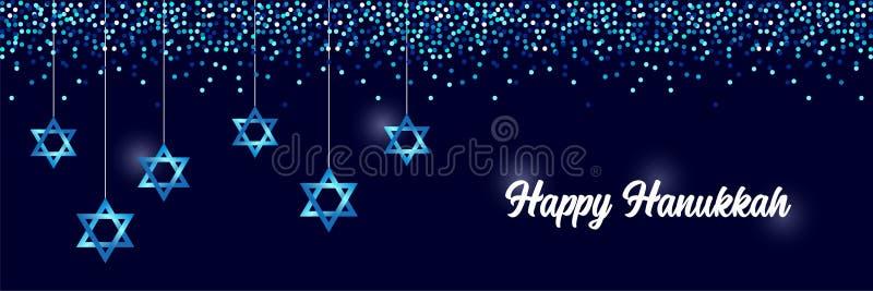 Luksusowy Świąteczny Szczęśliwy Hanukkah horyzontalny tło z błyska i błyskotliwy skutek i literowanie ilustracji