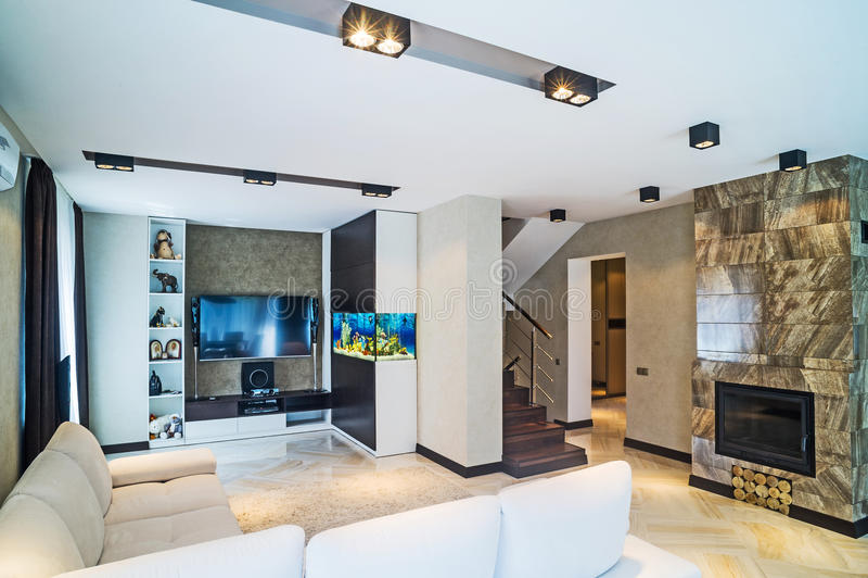Luksusowy żywy izbowy wnętrze fotografia royalty free