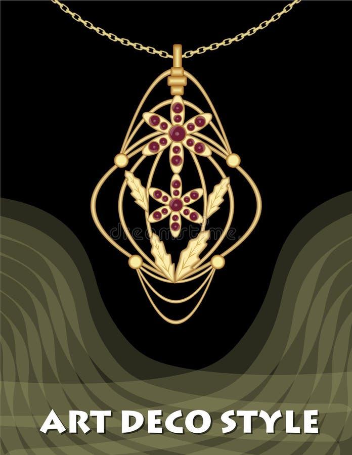 Luksusowy art deco filigree breloczek, klejnot z czerwonym rubinem na złotym łańcuchu, antykwarska elegancka złocista biżuteria,  royalty ilustracja