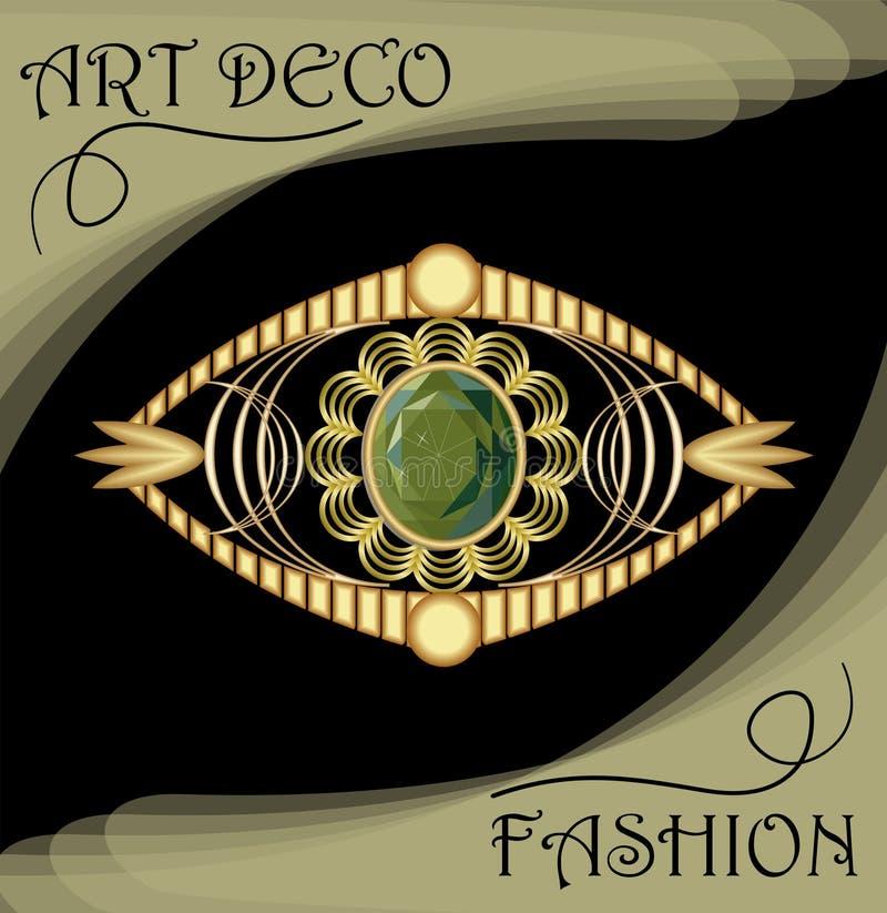 Luksusowy art deco filigree broszka, klejnot z zielonym szmaragdem, antykwarska złocista biżuteria, moda w wiktoriański stylu royalty ilustracja