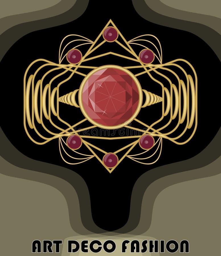 Luksusowy art deco filigree broszka z czerwonymi klejnotami rubiny lub garnet, moda w wiktoriański stylu, antykwarski złocisty kl ilustracji