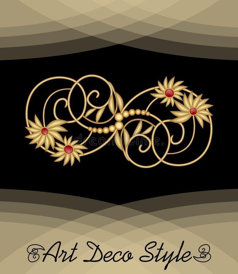 Luksusowy art deco filigree broszka z kwiecistym motywem, klejnot z czerwonym rubinem na złotym łańcuchu, antykwarska elegancka z ilustracji