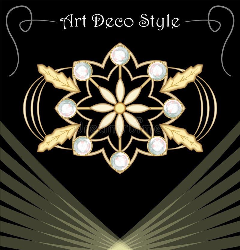 Luksusowy art deco filigree broszka z kwiecistymi motywami, klejnot dekorował z diamentami, antykwarska złocista biżuteria, moda  ilustracji