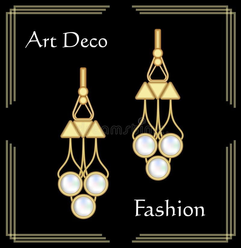 Luksusowy art deco filigree kolczyki, klejnot z rzadkimi perłami, antykwarska elegancka złocista biżuteria, moda w wiktoriański s ilustracji