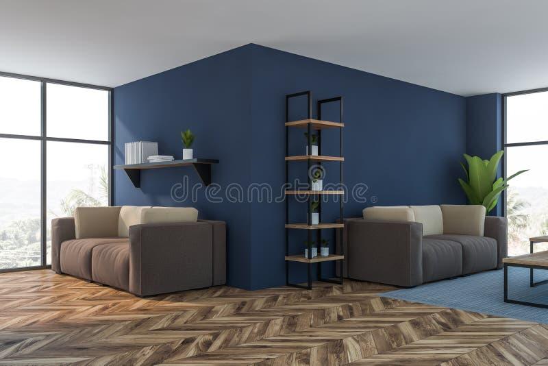 Luksusowy błękitny żywy pokoju lub holu kąt ilustracja wektor
