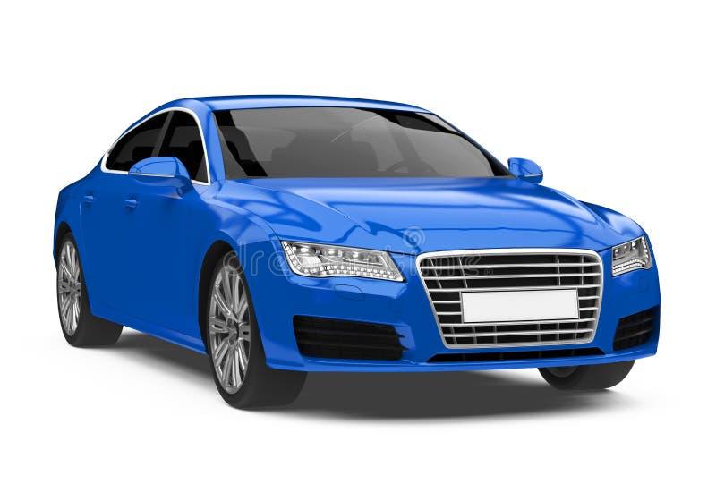 Luksusowy Błękitny sedanu samochód Odizolowywający royalty ilustracja