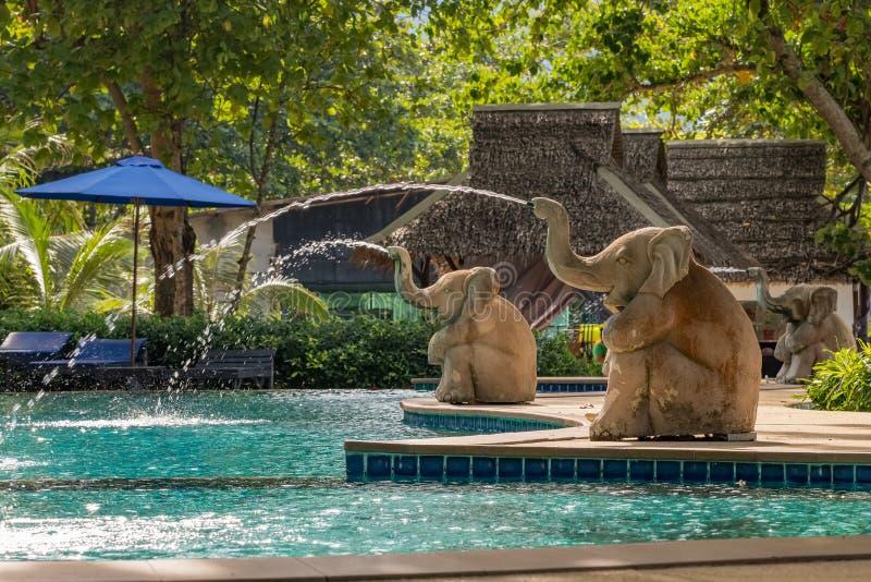 Luksusowy basen w tropikalnym kurorcie, Tajlandia zdjęcia royalty free