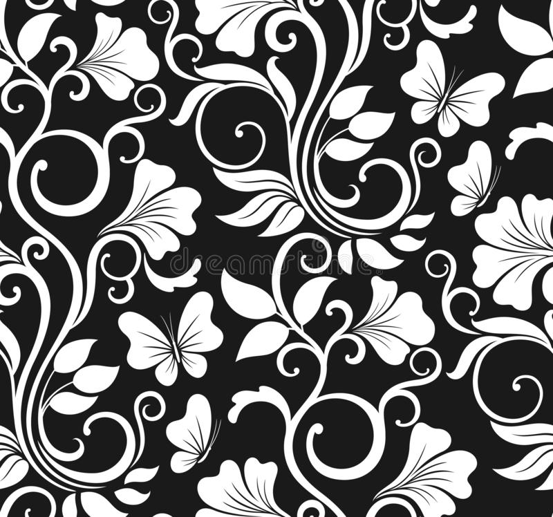 Luksusowy bezszwowy graficzny t?o z kwiatami i li??mi Kwiecisty wektoru wz?r royalty ilustracja