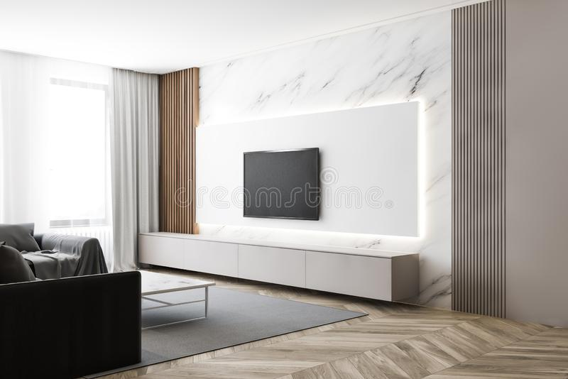 Luksusowy biały marmur z telewizorem i sofą ilustracji
