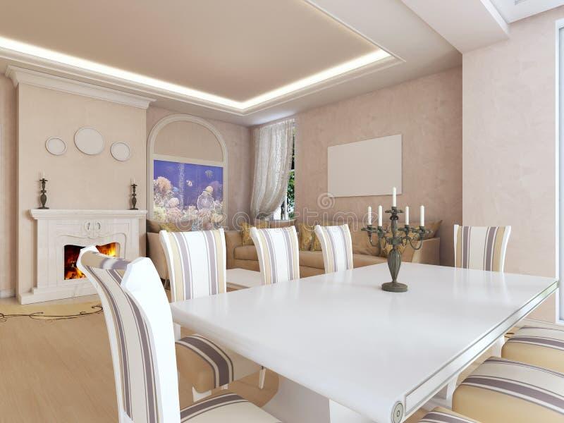 Luksusowy biel łomota stół okno w żywym pokoju royalty ilustracja